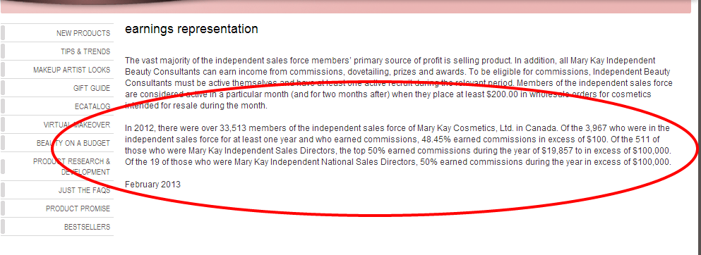 Mary Kay   Earnings Representation